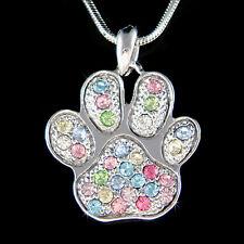 w Swarovski Crystal Rainbow Dog KITTY CAT Kitten Pawprint Paw Print Necklace New