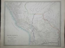 Hand Coloured c1845 Victorian SDUK Map of South America, Bolivia, Peru - 133