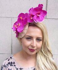 Hot Pink Peach Cream Beige Orchid Flower Fascinator Hat Pillbox Races Vtg 3120