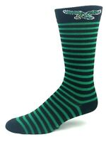 For Bare Feet Philadelphia Eagles Black & Green Stripe Throwback Logo Crew Socks