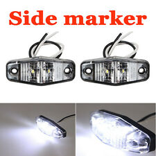 "2PCS White Side Marker Light LED Lamp 2.5"" 2 Diode Oval Clearance Trailer Truck"