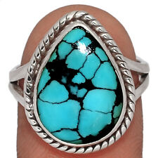Tibetan Turquoise 925 Sterling Silver Ring Jewelry s.7.5 AR163573