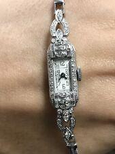 Ladies Vintage Antique Estate Platinum Diamond Watch