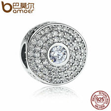 Bamoer European 925 Sterling Silver Round Charm with Clear Zircon Fit Bracelet