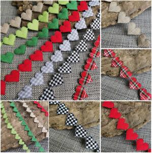 VINTAGE Gingham Ribbon Heart Cotton trim Jute LOVE Linen Hessian sewing lace