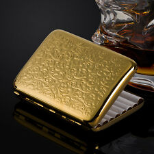 New Gold Plated Embossed Arabesque Pure Copper Cigarette Case Hold 16 Cigarettes