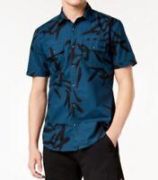 INC Men's Short-Sleeve Snap Button-Down Shirt, Peacock Blue, Medium M
