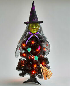 2 Ft Lighted Wicked Witch w/ Broom Halloween Tabletop Tree Centerpiece