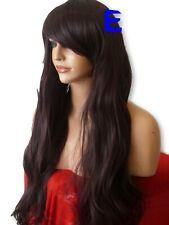 Extra Long Black Plum Women's Straight Natural Fashion LADIES full hair wig E-19