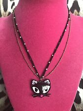 Betsey Johnson Vintage Vampire Slayer Black Cat Head Pearl Necklace VERY RARE