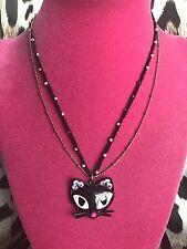 Betsey Johnson Vintage Vampire Slayer Black Cat Head Pearl Necklace VERY RARE