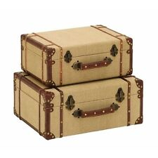 Vintage Luggage Suitcases Wooden Old Look Storage Box Decorative Suitcase NEW