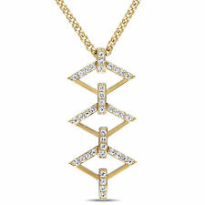 Amour 18k Yellow Gold Over Sterling Silver Sapphire Ladder Necklace