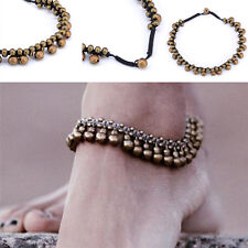 Dancing Bear Charm Bells Black Lace Hemp Anklet Macrame Handmade Ankle Bracelet Fast Color Fashion Jewelry