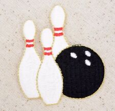 White Bowling Pins/Black Ball - Sport/Game - Iron on Applique/Embroidered Patch
