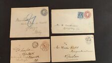 4 x QV Queen Victoria Embossed Covers & a 2,1/2d Perfin Blue Stamp Sent Abroad