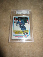 Peter Stastny 1981-82 Topps Rookie Card RC #39 graded grade BGS 8 NrMt-Mt PSA
