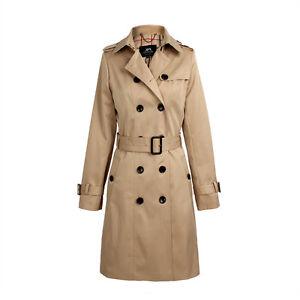 Women's Double Breasted Trench Coat Business Slimmed Waterproof Raincoat