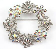 Crystal Wedding Bridal Brooch Pin Clear Floral Wreath Austrian Rhinestone