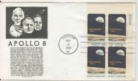 Houston TX Apollo 8 Numbered Plate Block Astronauts C.S. Anderson Cachet FDC F04
