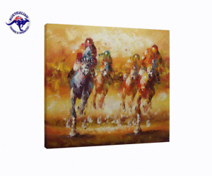 FRAMED!!! LARGE ANTHONY VECCHIO REPRO OIL PAINTING HAND PAINTED, HORSES RACING