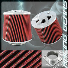 """Spiral Cone 3"""" Red Mesh Gauze Turbo Short Ram Cold Intake Air Filter + Adapter"""
