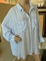 BP Nordstrom The Perfect Shirt Womens Plus Blue Striped Tunic Shirt sz 4X NWT