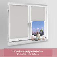 2x Rollo Klemm-fix Verdunklungsrollo Thermo ohne Bohren Klemmrollo Fensterrollo