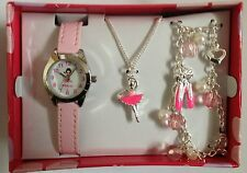 GIRLS BALLET BALLERINA WATCH AND CHARM BRACELET, NECKLACE GIFT SET BOXED GTEE
