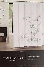 "Tahari Home Printemps Floral White Sage Green Fabric Shower Curtain 72""x72"" NEW"