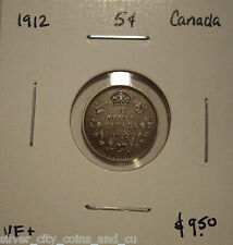 Canada George V 1912 Silver Five Cents - VF+