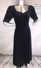 Laura Ashley Blue Velvet Dress | Vintage | 1/2 Sleeve Button Back | UK 8 | A59