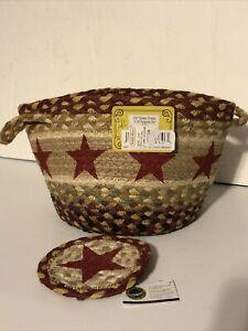 """Braided Jute Utility Basket Storage Earth Rug Burgandy Star 9"""" x 7"""" w 5"""" coaster"""