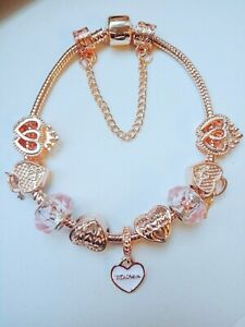 19cm Rose Gold Plated Charm Bracelet Come With 9 Charms Mother Best Mum Gifts UK