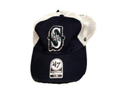 NWT New Seattle Mariners '47 Brand Logo Stamper Mesh L-XL Stretch Flex-Fit Hat