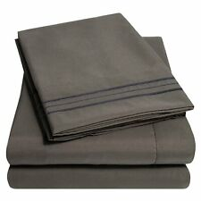 1800 Thread Count Egyptian Comfort Sheet Set Sweet Home Collection Queen Gray