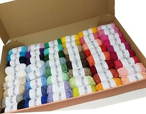 Hello 25g 100% Cotton Yarn Assorted  Pack of 50 balls