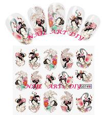 15 Water Transfer Stickers-Decals-Adesivi GEISHA-Stile Orientale-Manicure Unghie