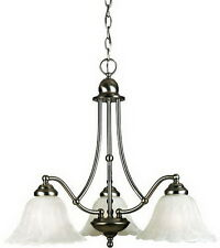 Quoizel Empire Silver And Etched Alabaster Glass 3 Light Chandelier