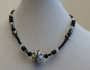 """Hand Beaded """"Statement Necklaces"""" in black and white w/silver colored accents"""