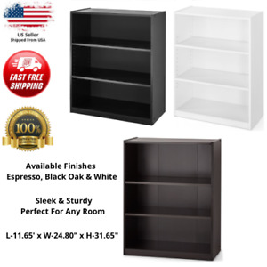 3-Shelf Wood Bookcase Wide Storage Display Book Bookshelf Adjustable Shelving
