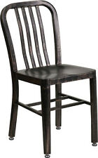 Mid-Century Black Antiqued Gold Navy Dining Chair Cafe Restaurant In-Outdoor