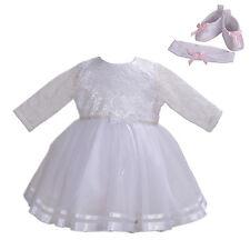 Nuevo Chicas Manga Larga Vestido de Bautizo Blanco Con Diadema Zapatos 0-3 meses