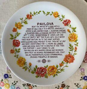 Vintage Pavlova Recipe 30cm Plate: Vibrant Rose Decals: Ironstone: Japan: GVUC