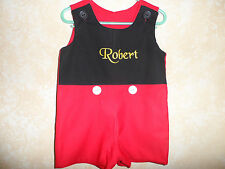 Boy's Jon Jon Romper Personalized Red and black Mickey  Size 12 mo. - 5