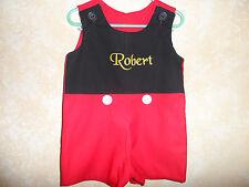 Boy's Jon Jon Romper Personalized Red and black Mickey  Size 12 mo. - 5