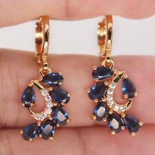 blue arc Fan teardrop stone Gift Br 18K Yellow Gold Filled Earrings Women Royal