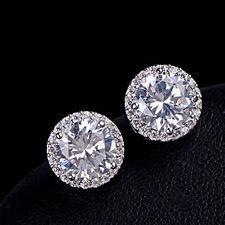Women's Crystal 925 Silver Plated Ear Stud Hoop Earrings Jewelry 10mm CZ Gift
