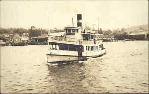 Robinhood ME Cancel Steamer Boat Virginia Popham? Bath? Real Photo Postcard