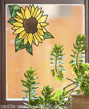 "CLR:WND Sunflower Stained Glass Style Vinyl Window Decal  ©YYDC (MD 5.5""w x 6""h)"